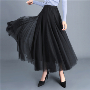 Solid color stitching high waist mesh skirt