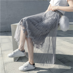 Wholesale high waist beaded mesh pleated skirt