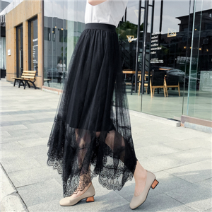 Wholesale high waist irregular ray silk skirt