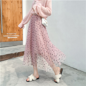 High waist chiffon dot mesh pleated skirt