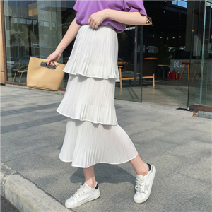 High waist solid color cotton ruffled skirt