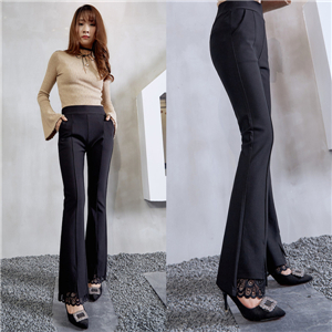 Wholesale high waist lace nine points micro bell pants