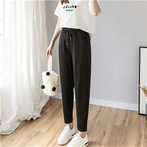 Wholesale high waist cotton nine points harem pants