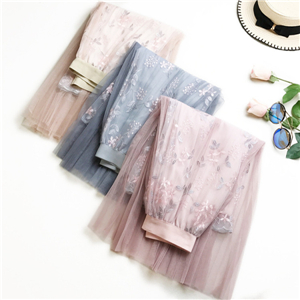 Wholesale embroidery high waist A word mesh long skirt