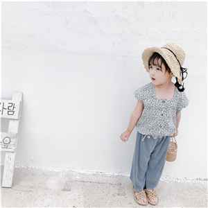 Wholesale pleated cotton childrens wide leg pants