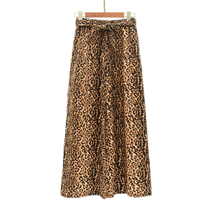 Wholesale high waist leopard nine point wide leg pants