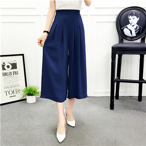 Wholesale high waist solid color chiffon cropped trousers
