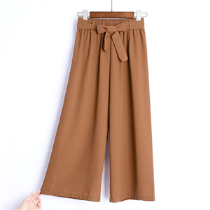 High waist solid color chiffon cheap wide leg pants