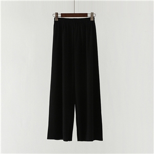 High waist solid color cheap elastic wide leg pants