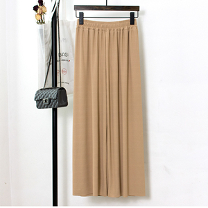Wholesale high waist solid color cotton wide leg pants