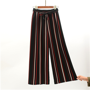 Wholesale high waist cotton striped pants