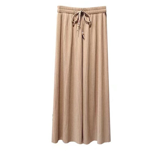 Wholesale high waist cotton pleated wide-leg pants
