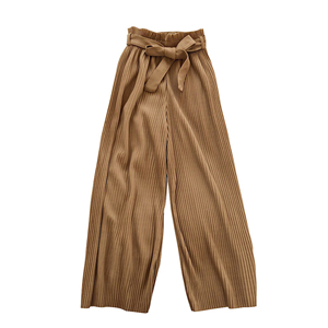 Wholesale high waist solid color pleated wide leg pants