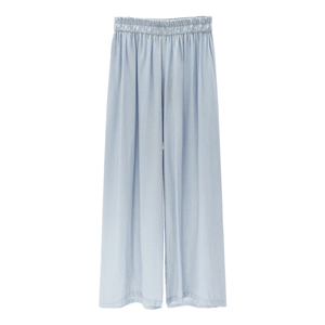 Wholesale high waist pure elastic waist cotton wide leg pants