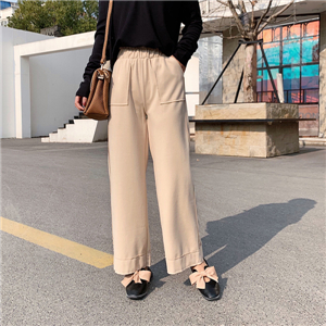 Wholesale high waist straight woolen cropped leggings