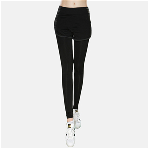 Wholesale solid color cotton fake two piece yoga leggings