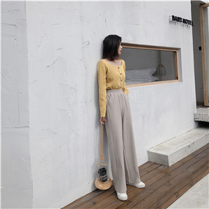 Wholesale high waist straight woolen pants