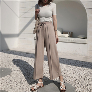 Wholesale high waist cotton high waist straight nine pants