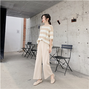 Wholesale high waist slim knit cotton pants