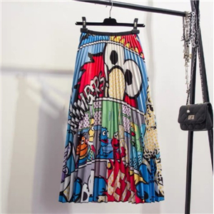 Wholesale cartoon animal pattern elastic waist pleated dress