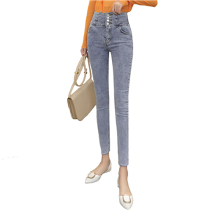 Wholesale high waist tight cotton cropped jeans