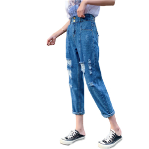 China cheap elastic waist worn cotton jeans