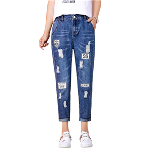 China cheap high waist hole nine points elastic waist jeans