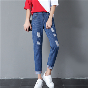 Wholesale elastic waist hole cotton jeans