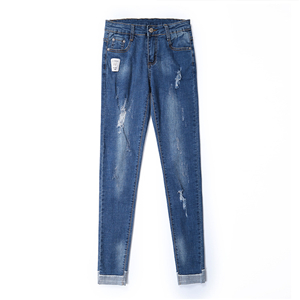 Wholesale cotton tight-fitting waisted jeans