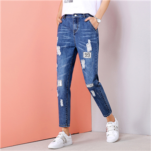 Wholesale cotton hole high waist jeans