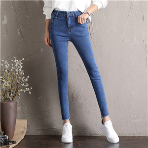 Wholesale high waist raw nine point stretch skinny jeans