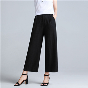Wholesale high waist loose cotton trousers