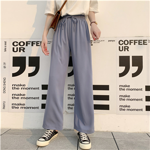 China wholesale solid color high waist chiffon wide leg pants