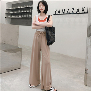 High waist slimming cotton cheap straight pants