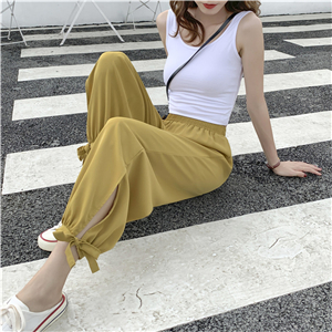 Wholesale high waist solid color chiffon cropped leggings
