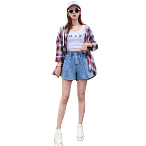 Wholesale elastic waist cotton denim shorts