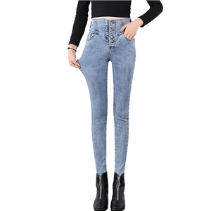 Wholesale high waist elastic waist jeans