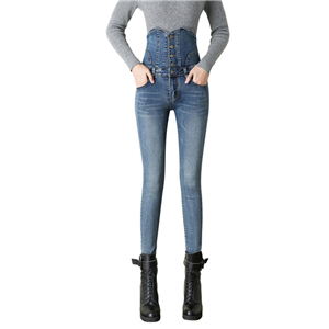 Wholesale high waist slim cotton jeans