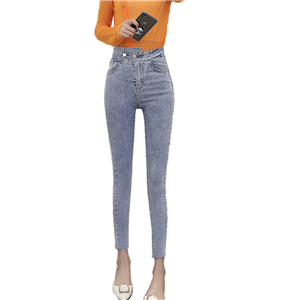 Wholesale high waist slimming cotton denim pants