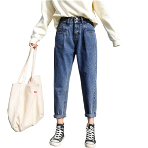 High-waist slim cotton straight cheap jeans