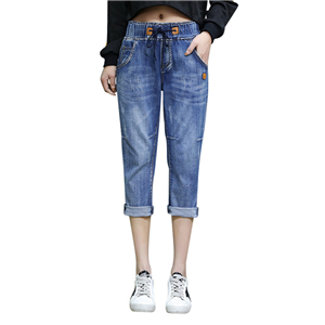 Wholesale stretch elastic waist cotton jeans