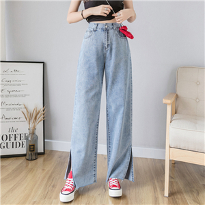 High waist loose cotton jeans
