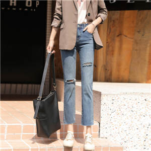 High waist straight light color cotton cheap jeans