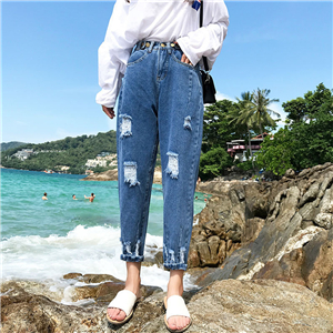 Wholesale high waist loose hole denim pants