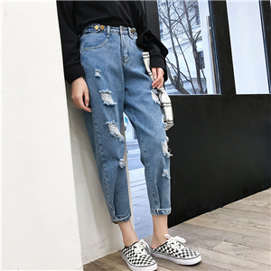 Wholesale high waist hole slimming denim pants