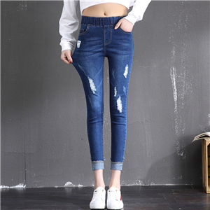 Wholesale middle waist hole thin denim stretch curling feet leggings