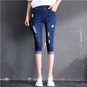 Wholesale high waist elastic waist hole elastic seven points jeans