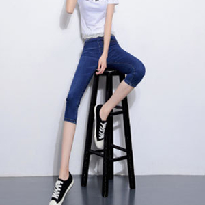 Wholesale elastic waist slim cropped jeans
