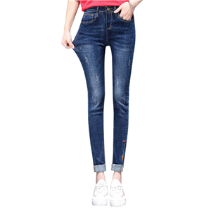 Wholesale high waist embroidery curled nine points denim pants