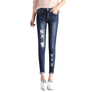 High-rise cropped jeans with ripped feet